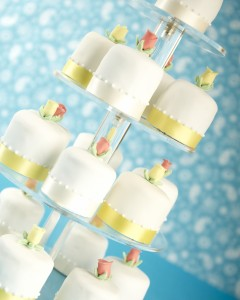 Iced mini cakes tower