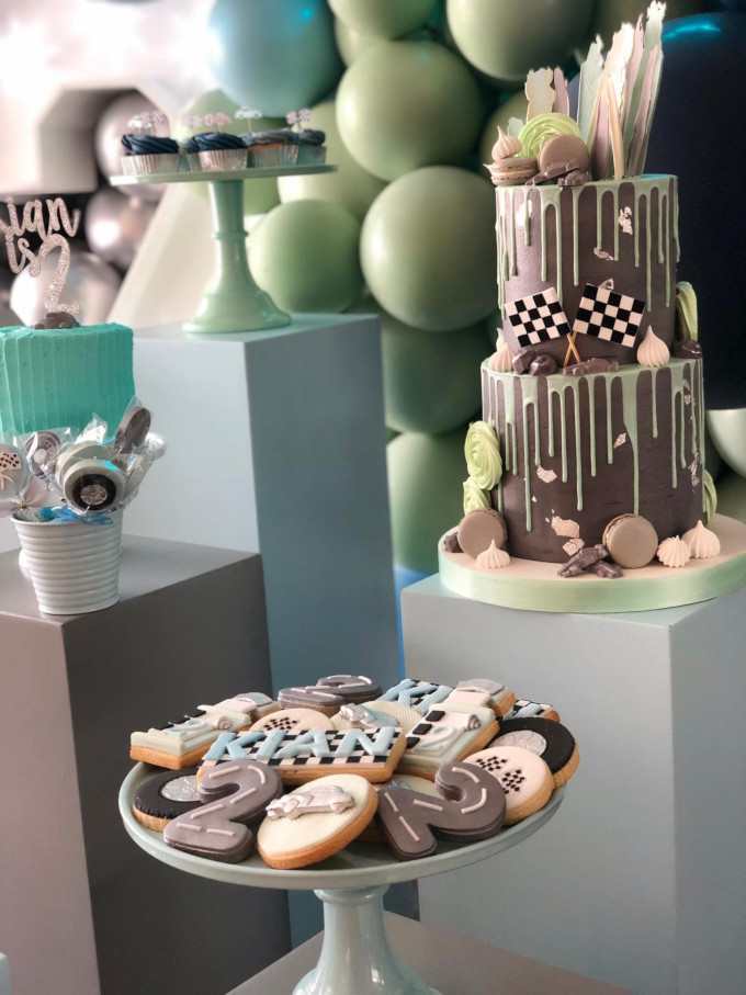 Car themed desert table for 2nd birthday