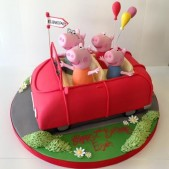 Peppa Pig and family in the car