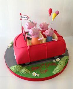 Peppa Pig car birthday cake