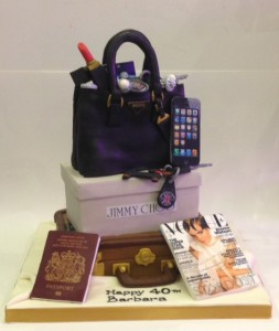Handbag and shoe box cake