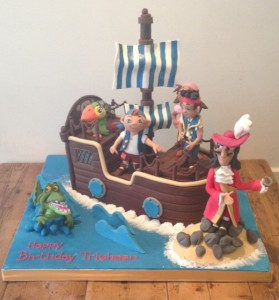 Disney Jake and the Neverland Pirate ship cake