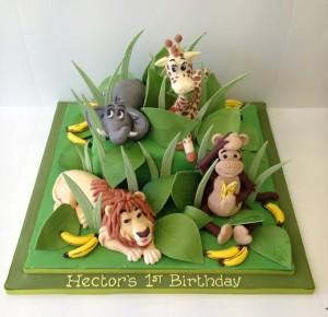 Jungle animal birthday cake