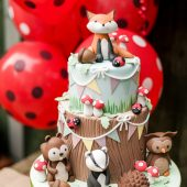 Woodland creatures party cake
