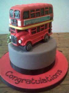 London Bus birthday cake sugar model