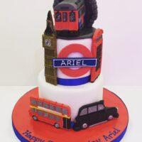 London transport themed birthday cake