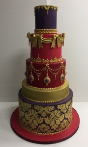 Ornate tiered wedding cake