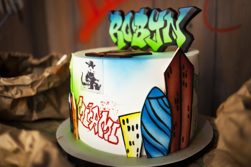 Graffiti birthday cake