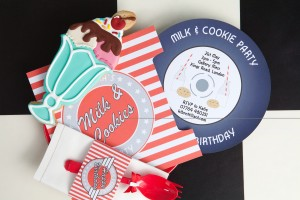 Beautiful Les Enfants designed invites and a sundae cookie