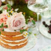 Maria de Faci multi tier naked wedding cake