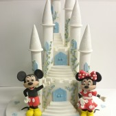 Minnie and Mickey mouse castle birthday cake