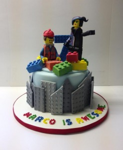 Lego Movie sugar model birthday cake