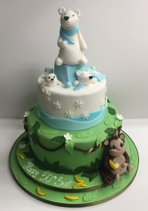 Monkey and polar bear cake