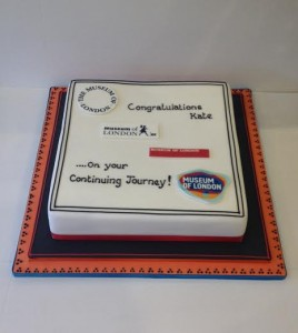 Transfer images of corporate logo cake