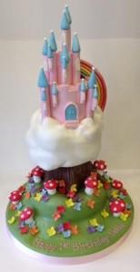Multicoloured castle cake