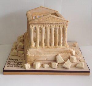 Parthenon building corporate cake