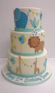 Cute jungle invitation birthday cake