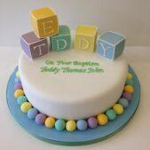Pastel christening cake