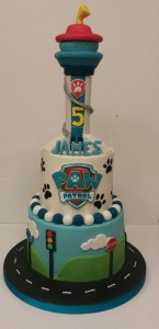 paw patrol tower birthday cake