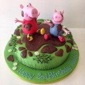 Peppa Pig and George in garden