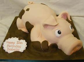 2D Piggy in the mud birthday cake