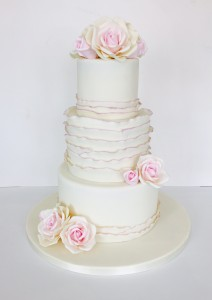 Blush sugar rose wedding cake