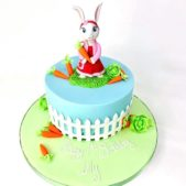 Rabbit themed 1st birthday cake
