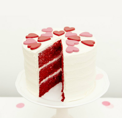 Multi tiered red velvet celebration cake