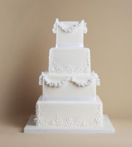 square regal wedding cake