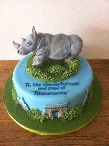 Realistic rhino birthday cake