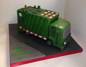 Rubbish truck birthday cake