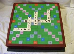 Scrabble themed birthday cake