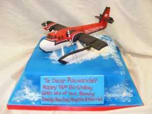 Sugar model of a sea plane birthday cake