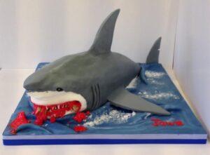 3D realistic Jaws shark birthday cake