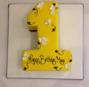 Bee themed number birthday cake