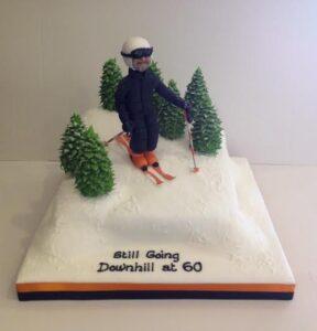 Downhill skiing birthday cake