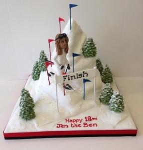 Ski mountain birthday cake