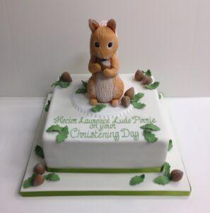 Squirrel Nutkin christening cake