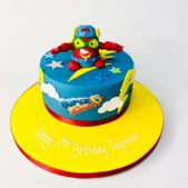 Super Zings themed 7th birthday cake