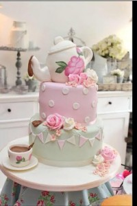 Tea party themed wedding cake