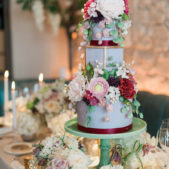 Three Tier Wedding Flower Cake