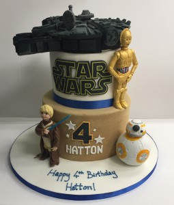Tiered Star Wars birthday cake with C3PO BB-8 and Millenium Falcon