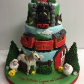 Tiered train cake