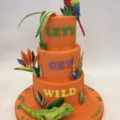 Tropical animal themed 7th birthday cake