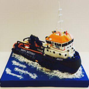 Tug boat birthday cake