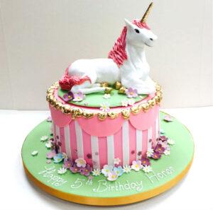 Pink Circus Unicorn Cake - 5th Birthday