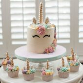 Unicorn birthday cake with unicorn cupcakes