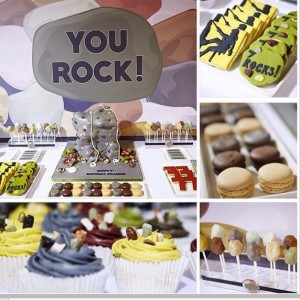 Rock climbing themed dessert table