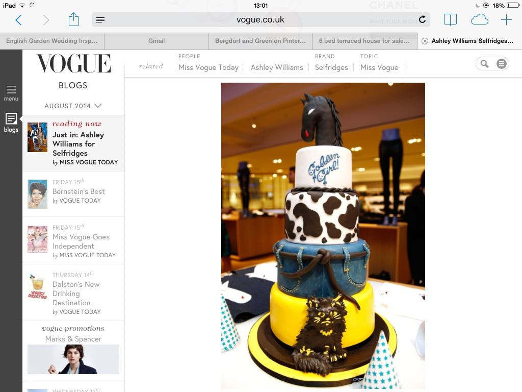 Vogue Cakes By Robin - Selfridges Wedding Cakes