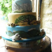 Walking themed wedding cake